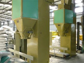 wood pellet packing and weighing system in wood pellets plant