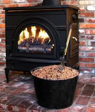burning pellets in wood pellet stove