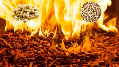 wood pellet burning