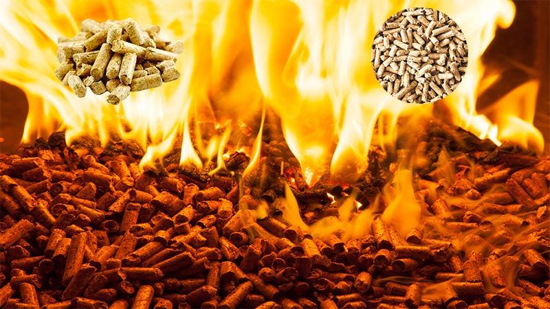 wood pellet burning